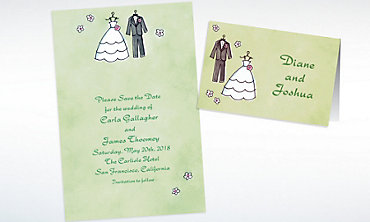 Custom Bride & Groom Outfits Bridal Shower Invitations & Thank You Notes