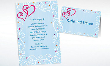 Custom Hearts with Vines & Buds Wedding Invitations & Thank You Notes