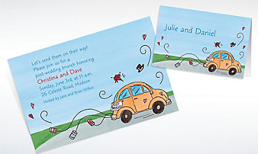Custom Just Married Getaway Car Bridal Shower Invitations & Thank You Notes