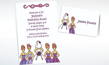 Custom Cute Bride & Bridesmaids Wedding Invitations & Thank You Notes