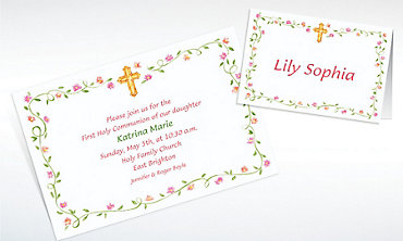 Custom Sweet Cross & Buds Invitations & Thank You Notes