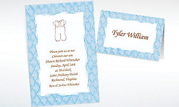 Custom Cute Baptism Suit Invitations & Thank You Notes