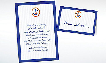 Custom Anchor & Stripes Invitations & Thank You Notes