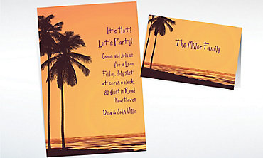 Custom Postcard Sunset Luau Invitations & Thank You Notes