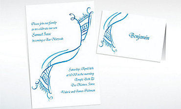Custom Tossed Tallis Masculine Invitations & Thank You Notes