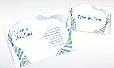 Custom Flowy Tallis Masculine Invitations & Thank You Notes
