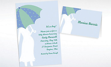 Custom Mommy with Umbrella Blue Baby Shower Invitations & Thank You Notes