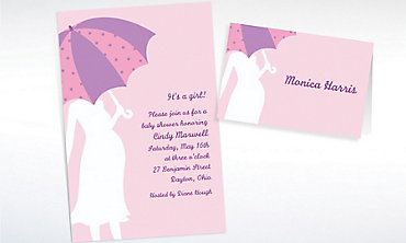 Custom Mommy with Umbrella Pink Baby Shower Invitations & Thank You Notes