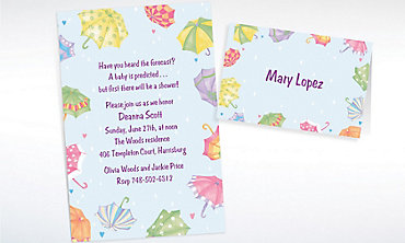 Custom Umbrellas Baby Shower Invitations & Thank You Notes