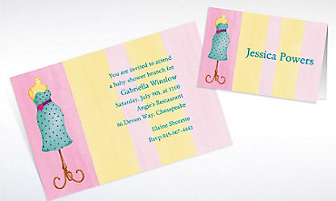 Custom Lovely Mommy Dress Form Baby Shower Invitations & Thank You Notes