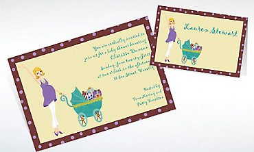 Custom Momma with Carriage Baby Shower Invitations & Thank You Notes