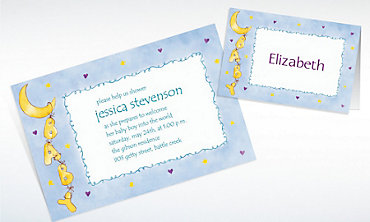 Custom Moon & Stars Baby Shower Invitations & Thank You Notes