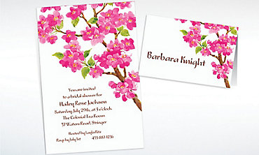 Custom Sweet Cherry Blossoms Invitations & Thank You Notes