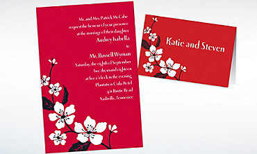 Custom Bold Cherry Blossoms Invitations & Thank You Notes