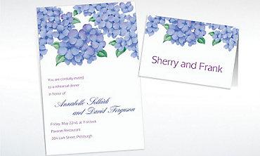 Custom Lively Hydrangeas Invitations & Thank You Notes
