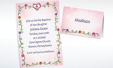 Custom Sweet Flowers, Heart and Cross Invitations & Thank You Notes