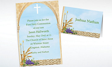 Custom Cross, Candles and Wheat Invitations & Thank You Notes