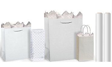 White Gift Bags & Gift Wrap