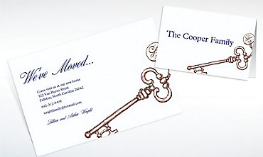 Custom Vintage Key Moving Announcements & Thank You Notes