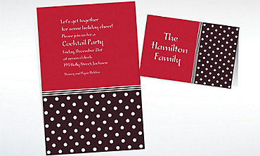 Custom Polkadot Red Christmas Invitations & Thank You Notes