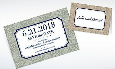 Custom Classic Damask Border Navy Invitations & Thank You Notes