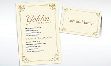 Custom Flourish Corners Gold Invitations & Thank You Notes