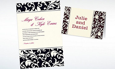 Custom Damask Black Stripe Invitations & Thank You Notes