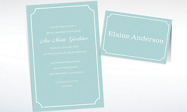 Custom Formal Corners Teal Invitations & Thank You Notes