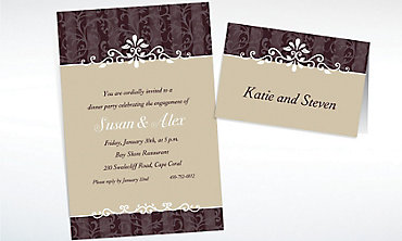 Custom Ornamental Lines Taupe Invitations & Thank You Notes