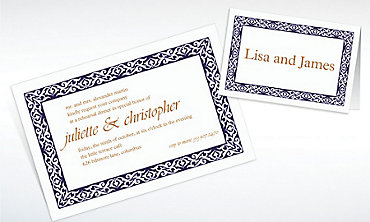 Custom Embellished Borders Navy Invitations & Thank You Notes