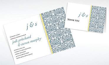 Custom Decorative Damask Yellow Invitations & Thank You Notes