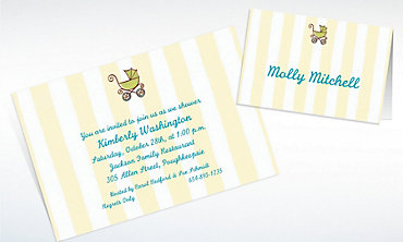 Custom Tiny Carriage on Stripe Baby Shower Invitations & Thank You Notes