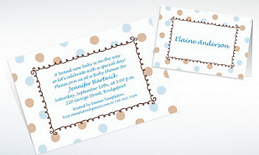 Custom Blue Dots Border Baby Shower Invitations & Thank You Notes