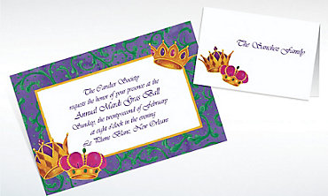 Custom Mardi Gras Crowns Invitations & Thank You Notes