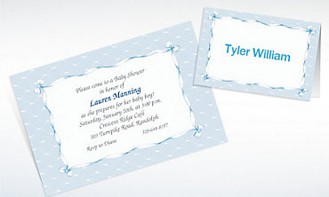 Custom Blue Lace and Bows Baby Shower Invitations & Thank You Notes