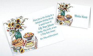 Custom Bagel Brunch Two Invitations & Thank You Notes