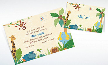 Custom Cute Jungle Animals Baby ShowerInvitations & Thank You Notes