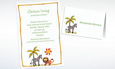 Custom Zebra & Friends Baby Shower Invitations & Thank You Notes