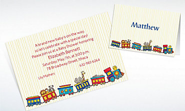 Custom Little Trains Baby Shower Invitations & Thank You Notes