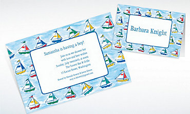 Custom Sailing Sailboats Baby Shower Invitations & Thank You Notes