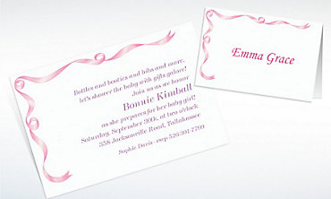 Custom Simple Pink Ribbon Baby Shower Invitations & Thank You Notes