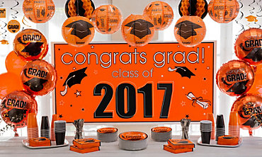 Orange Congrats Grad Graduation Decorations