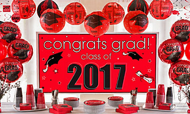 Red Congrats Grad Graduation Decorations