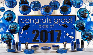 Royal Blue Congrats Grad Graduation Decorations