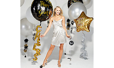 Black, Gold & Silver New Year's Eve Balloons