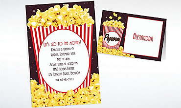 Custom Movie Night Popcorn Invitations & Thank You Notes