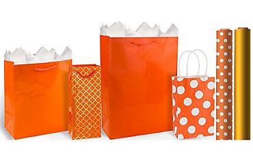 Orange Gift Bags & Gift Wrap