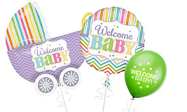 Welcome Baby Balloons - Bright Chevron Stripe