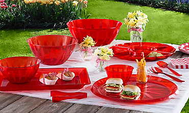 Red Serving Trays, Bowls & Utensils