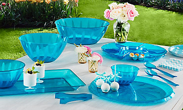 Caribbean Blue Serving Trays, Bowls & Utensils